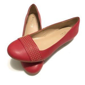 Red Faux Leather Gold Studded Round Toe Flats 8